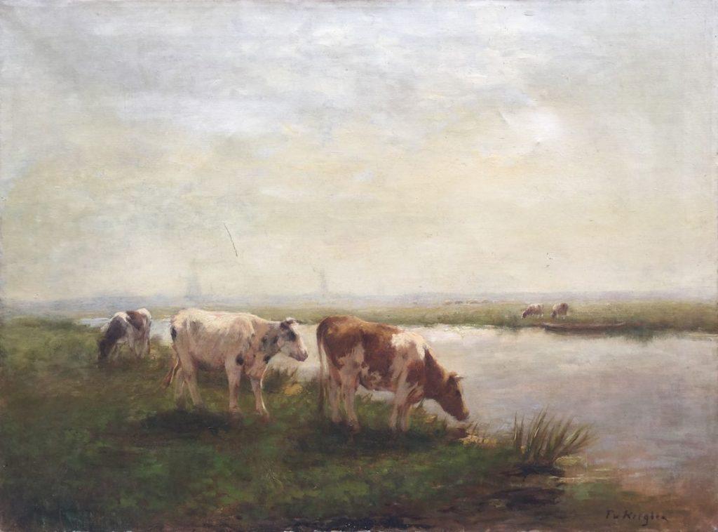 Schilderijen te koop van kunstschilder Fedor van Kregten koeien aan de waterkant olie op doek r.o. gesigneerd, Expositie Galerie Wijdemeren Breukeleveen