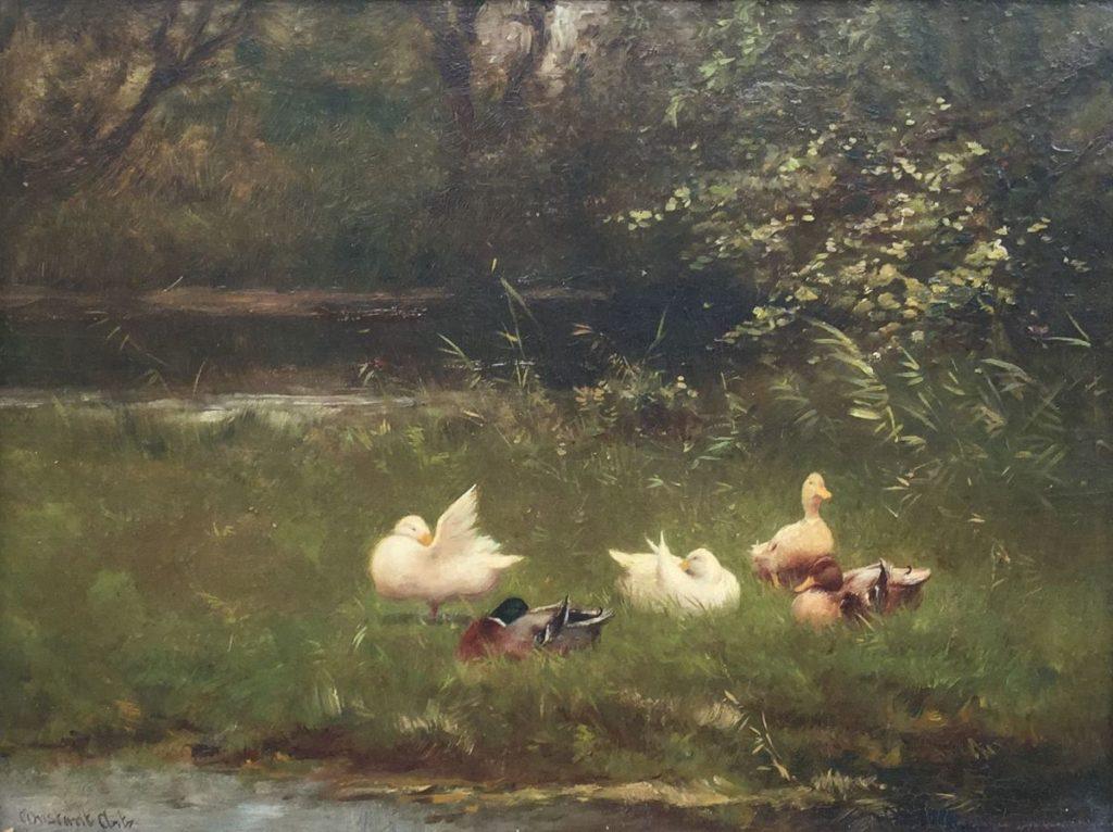 Schilderijen te koop van kunstschilder Constant Artz Eendenfamilie aan de bosrand olie op paneel, paneelmaat 26,5 x 36 cm linksonder gesigneerd, Expositie Galerie Wijdemeren Breukeleveen