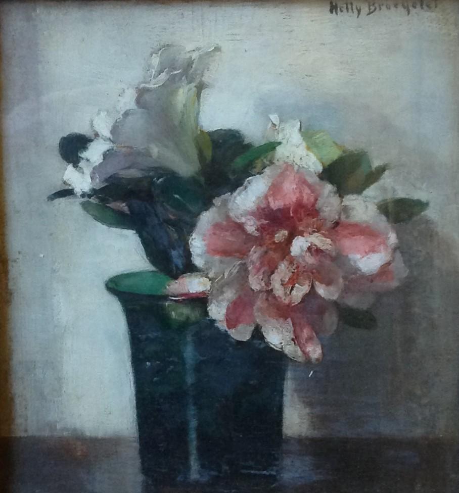 Kunstenaar Hetty Broedelet C377, Hetty Broedelet 'Bloemstilleven, olie op paneel 22 x 18,5 cm, r.b. gesigneerd verkocht