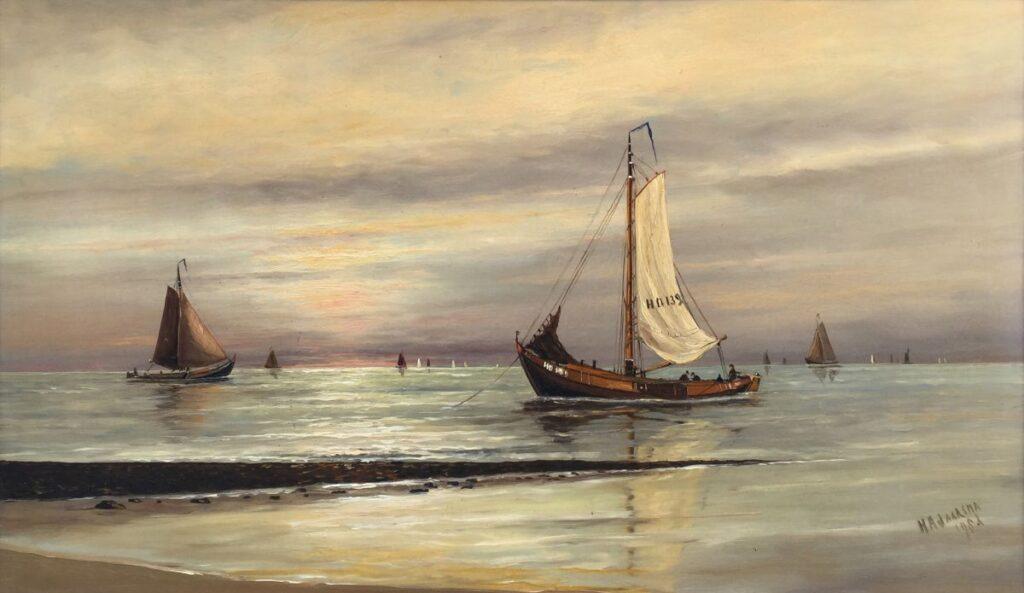 Schilderijen te koop, kunstschilder Haaike Abraham Jaasrsma Zeilboten aan de kust r.o. gesigneerd, Expositie Galerie Wijdemeren Breukeleveen