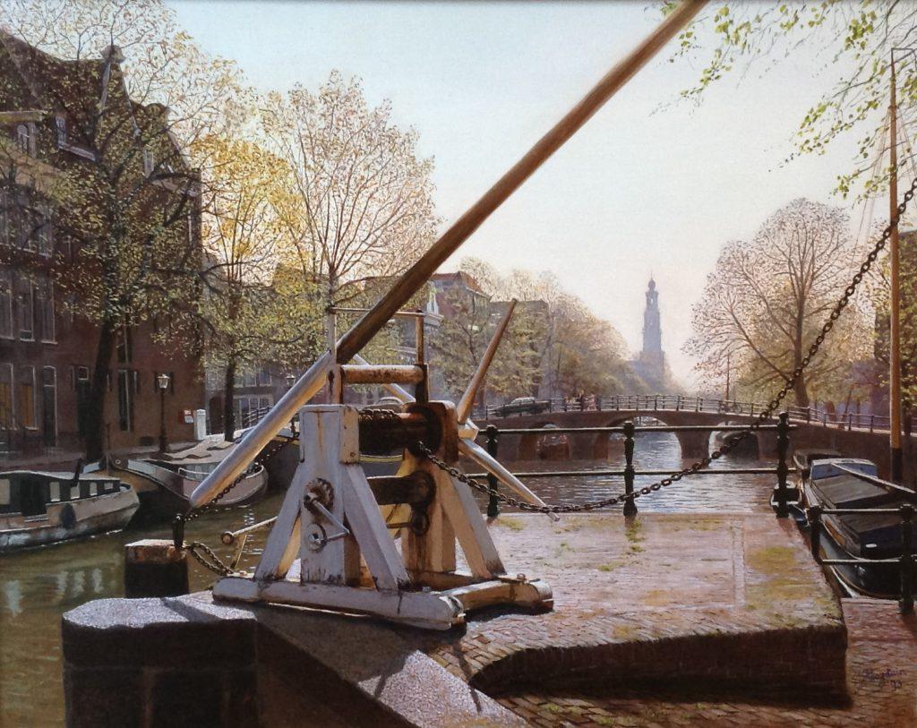 Kunstenaar J. Hoogduin C378, J. Hoogduin 'Lente in Amsterdam' olie op doek, 40 x 50 cm r.o. gesigneerd en gedateerd '93