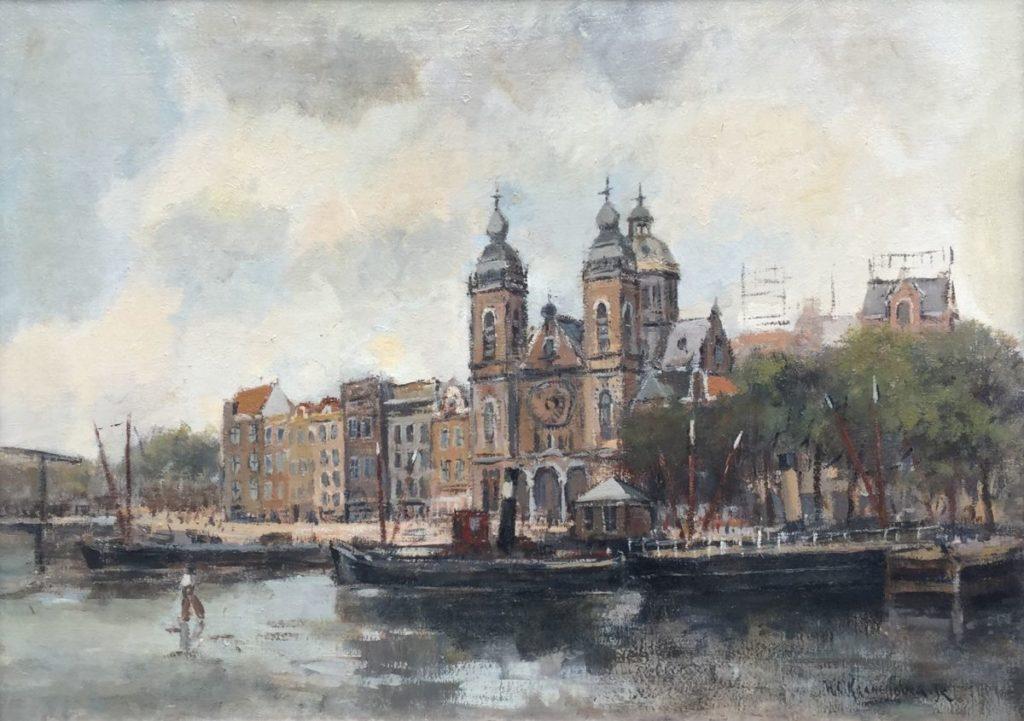 Kunstenaar Hendrik Cornelis Kranenburg C3790, H.C. Kranenburg Stadsgezicht Amsterdam met zicht op Nicolaaskerk olie op doek, 50 x 71 cm r.o. gesigneerd