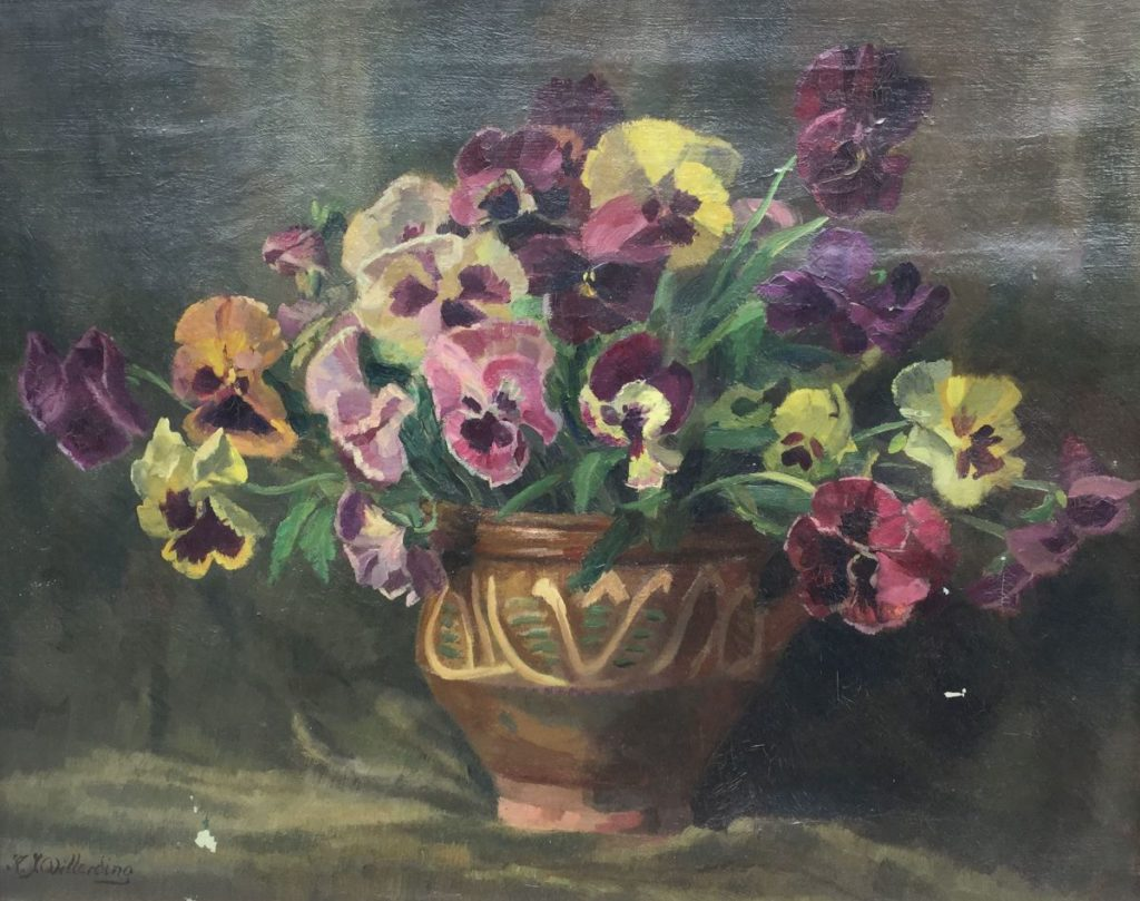 Kunst te koop bij Galerie Wijdemeren van kunstschilder Karel Willerding Stilleven met viooltjes olieverf op doek, 40 x 50 cm linksonder gesigneerd
