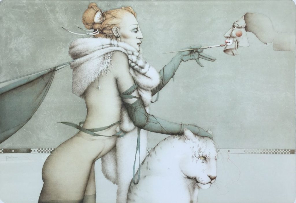 Schilderijen te koop van kunstschilder Michael Parkes Creation steenlitho, beeldmaat 69 x 100 cm linksonder gesigneerd, Expositie Galerie Wijdemeren Breukeleveen