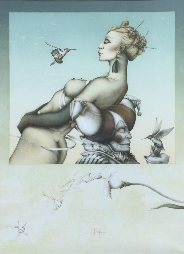 Schilderijen te koop van kunstschilder Michael Parkes Nectar steenlitho, beeldmaat 56,5 x 78 cm linksonder gesigneerd, Expositie Galerie Wijdemeren Breukeleveen