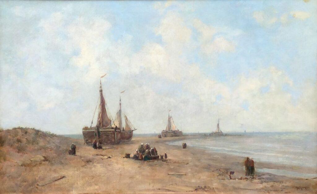 Kunstenaar Jacob Willem Gruyter C3798 J.W. Gruyter bomschuiten op het strand olie op doek, 50 x 81 cm r.o. gesigneerd verkocht