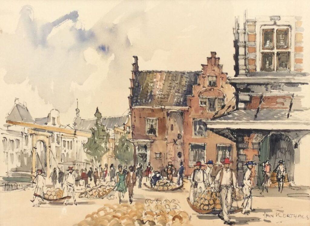 Kunstenaar Jan Korthals C3799, Jan Korthals, Kaasmarkt Alkmaar Aquarel, 31,5 x 43,5 cm r.o. gesigneerd particuliere collectie