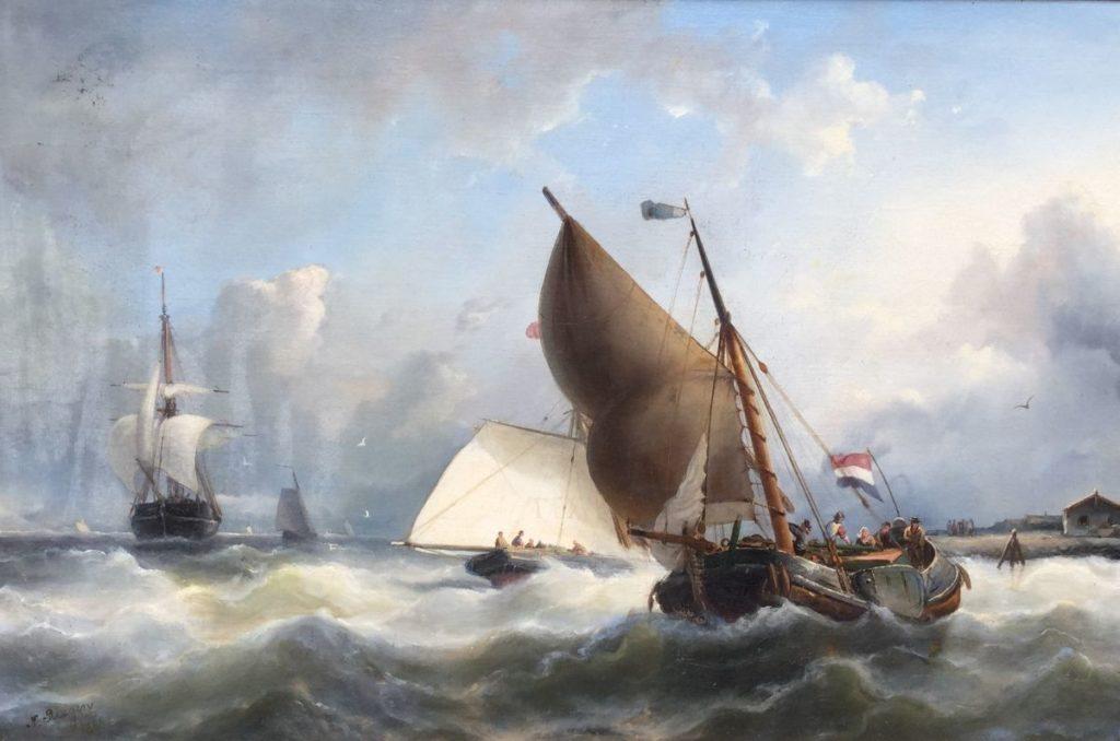 Schilderijen te koop, kunstschilderC3800 Nicolaas Riegen Schepen op zee olie op doek, 44,5 x 67,5 cm linksonder gesigneerd, Expositie Galerie Wijdemeren Breukeleveen