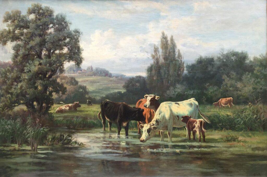Schilderijen te koop, kunstschilder W.F. Hulk Drinkende koeien olie op doek, 51,5 x 77 cm r.o. gesigneerd, Expositie Galerie Wijdemeren Breukeleveen