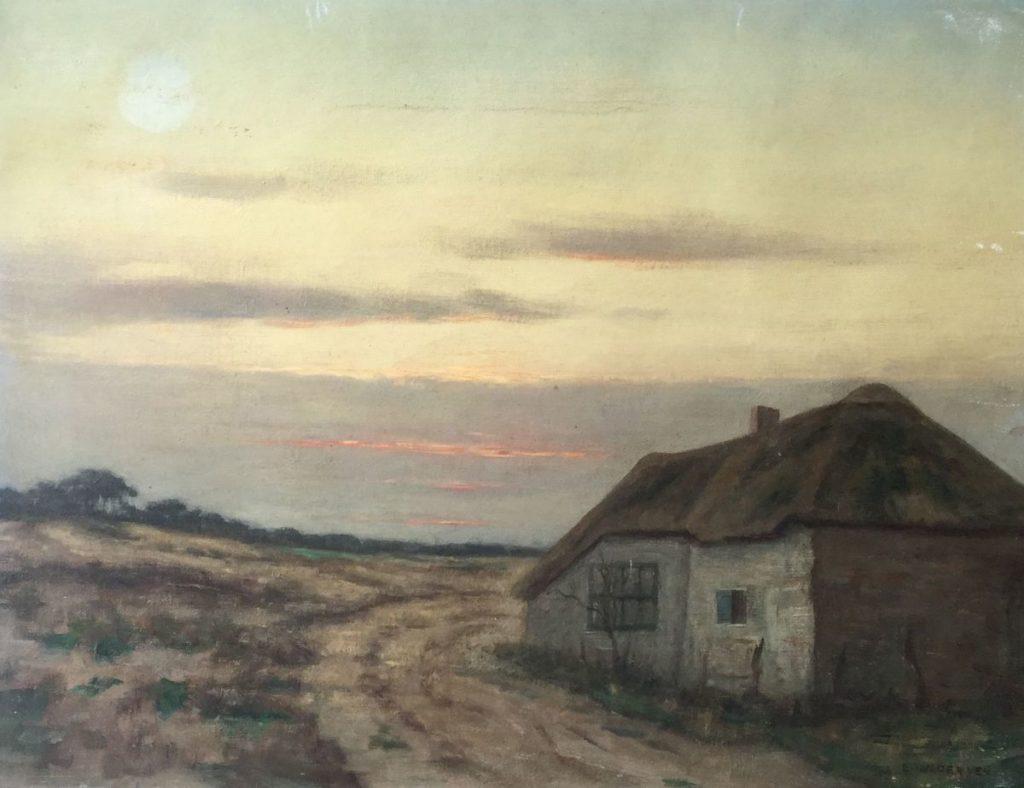 Kunst te koop bij Galerie Wijdemeren van kunstschilder Emanuel van der ven Hutje op de hei olie op doek, 35.5 x 46 cm rechtsonder gesigneerd