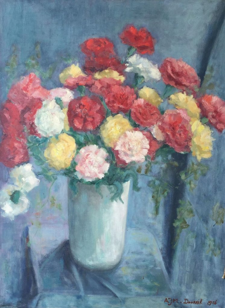 schilderijen te koop van kunstschilder, AJM van Doornik Bloemstilleven, olie op doek, doekmaat 60x80 cm gesigneerd rechtsonder, gedateerd 1956, expositie, galerie wijdemeren breukeleveen