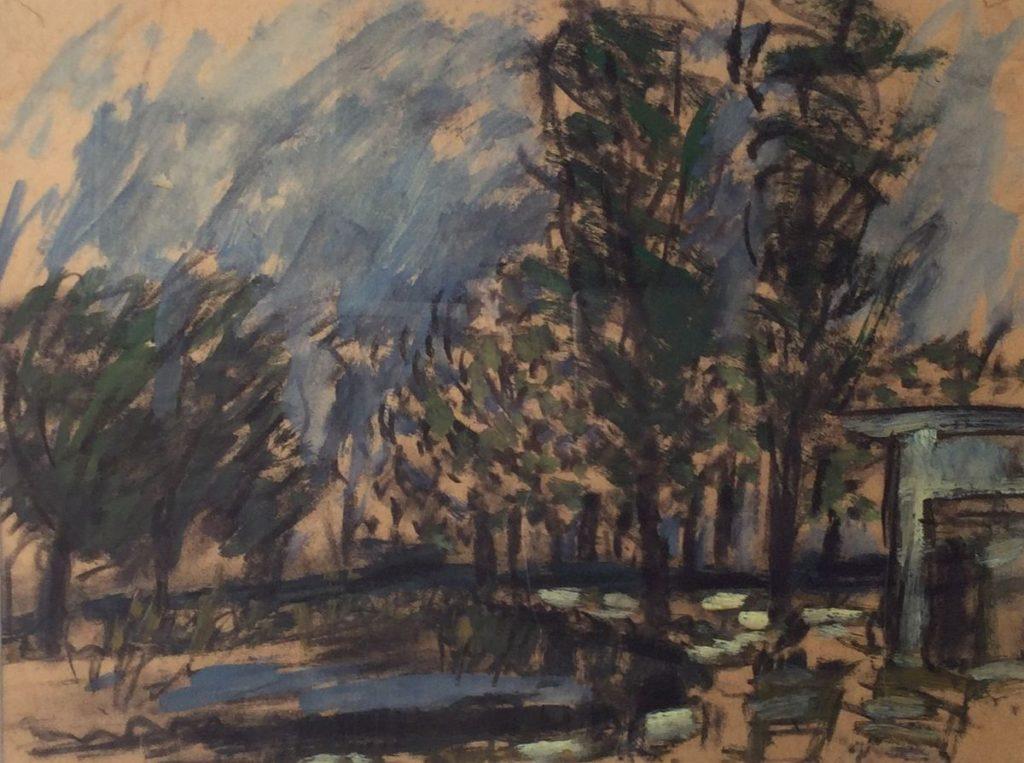 schilderijen te koop van kunstschilder Metta Leemhuis gemengde technieken op papier, beeldmaat 30 x 40 cm landschap rechtsonder gesigneerd en gedateerd 48, expositie, Galerie Wijdemeren Breukeleveen