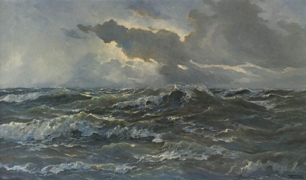 Kunstenaar Meeuwis van Buuren C3809, Meeuwis van Buuren zeegezicht olie op doek, 60,5 x 101 cm, r.o. gesigneerd.