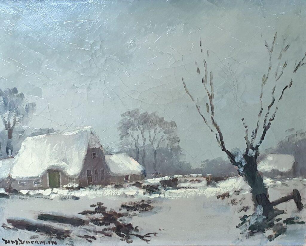 schilderijen te koop van kunstschilder, HM Voerman Winterlandschap met boerderij olie op doek, doekmaat 24 x 30,5 cm linksonder gesigneerd, expositie, galerie wijdemeren breukeleveen