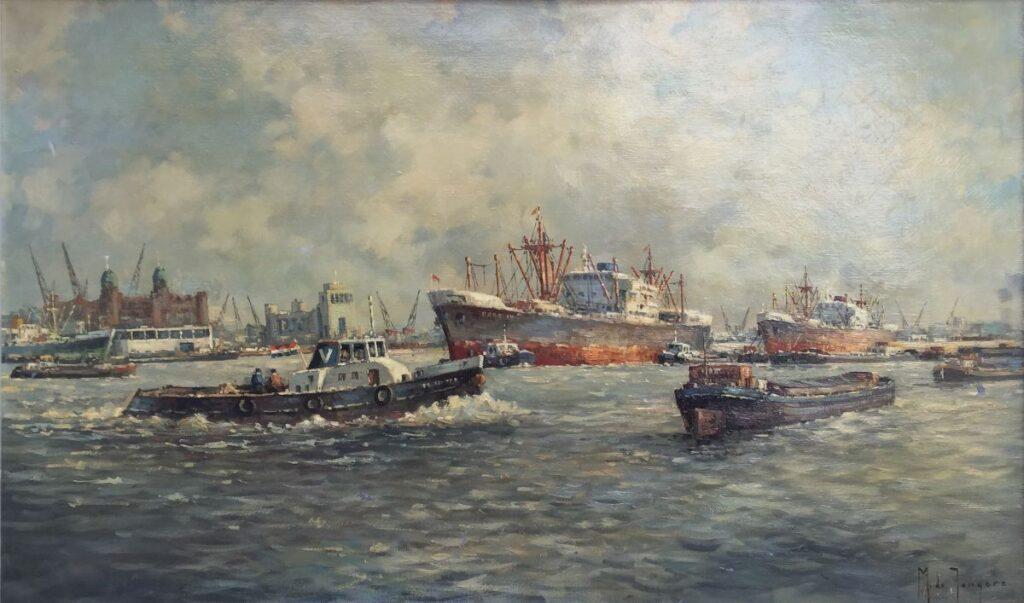 Schilderijen te koop van kunstschilder Marius de Jongere Havengezicht Olie op doek, 60 x 100 cm gesigneerd, Expositie Galerie Wijdemeren Breukeleveen