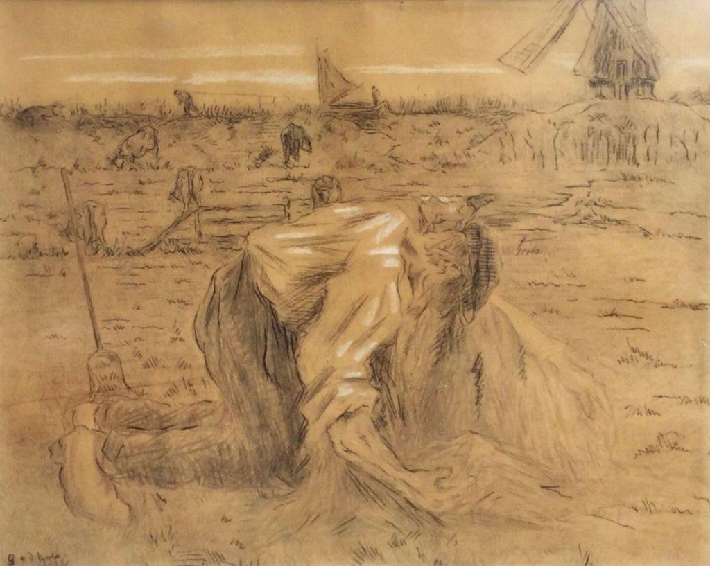 Schilderijen te koop van Kunstschilder, Gustave van der Does, Expositie Galerie Wijdemeren Breukeleveen, C3816  Boer werkend op het land krijttekening, l.o. gesigneerd beeldmaat 45 x 55 cm