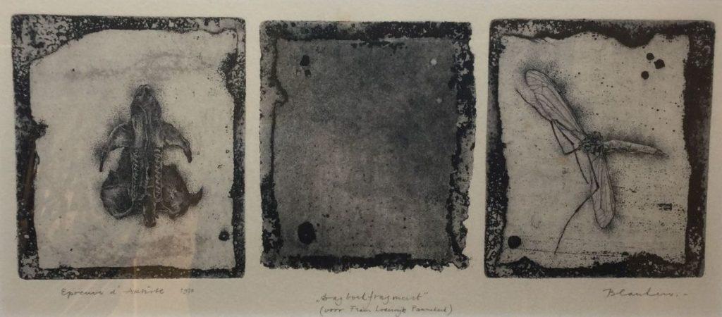 Kunstenaar  C3820-2 Hans Blanken dagboekfragment F.L. Pannekoek ets aquatint, beeldmaat 13 x 29 cm r.o. gesigneerd, l.o. gedateerd 1970