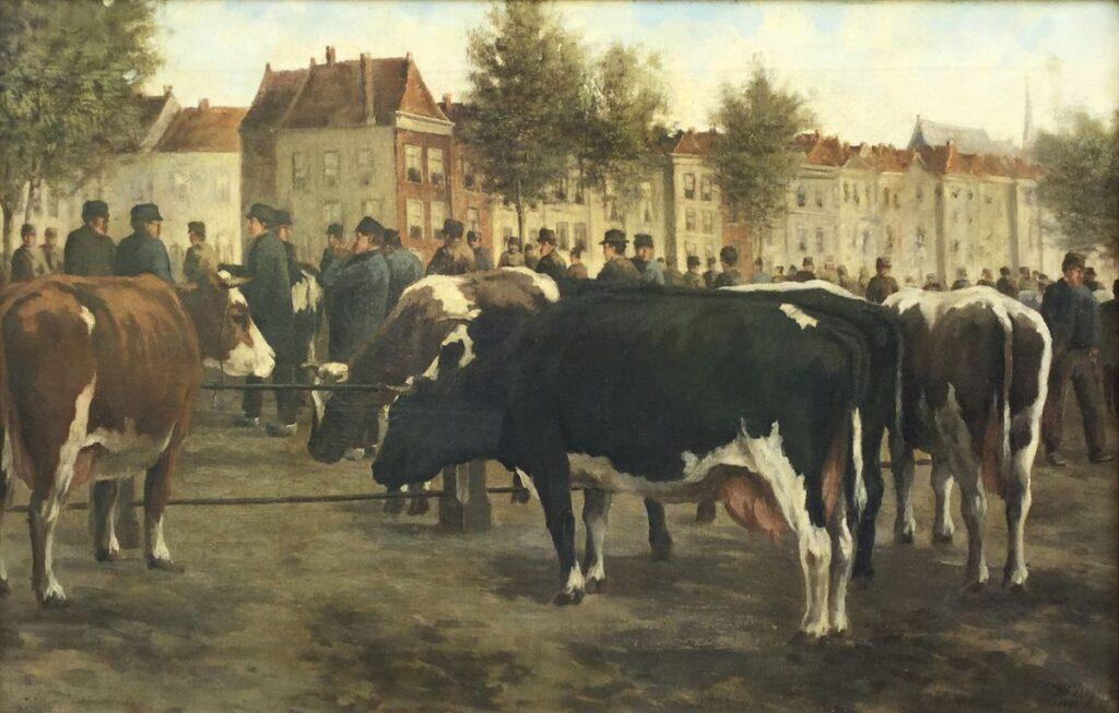 Kunstenaar Hermanus Charles Christiaan Bogman C3821, H.C.C. Bogman de koeienmarkt olie op doek, 51 x 78,5 cm r.o. gesigneerd verkocht