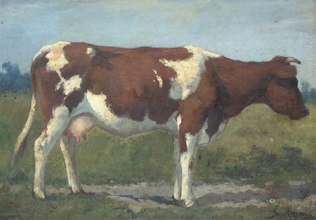 Kunstenaar Jacob van Rossum C3822 Jacob van Rossum Roodbonte koe in de wei olie op paneel, paneelmaat 29 x 38 cm rechtsonder gesigneerd