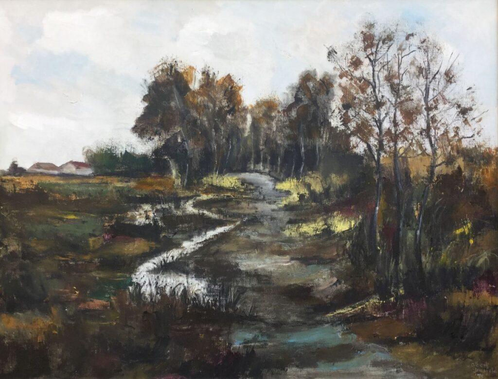 Kunstenaar Albert Grosfeld C3826, Albert Grosfeld Beekje in Brabants landschap olie op doek, 100x130 cm, r.o.gesigneerd verkocht