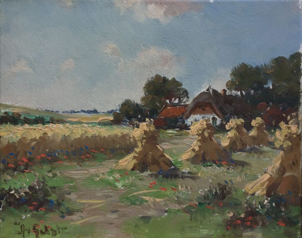 Kunstenaar Arnout van Gilst C3827, Arnout van Gilst Korenschoven olie op doek, 25 x 30,5 cm l.o. gesigneerd