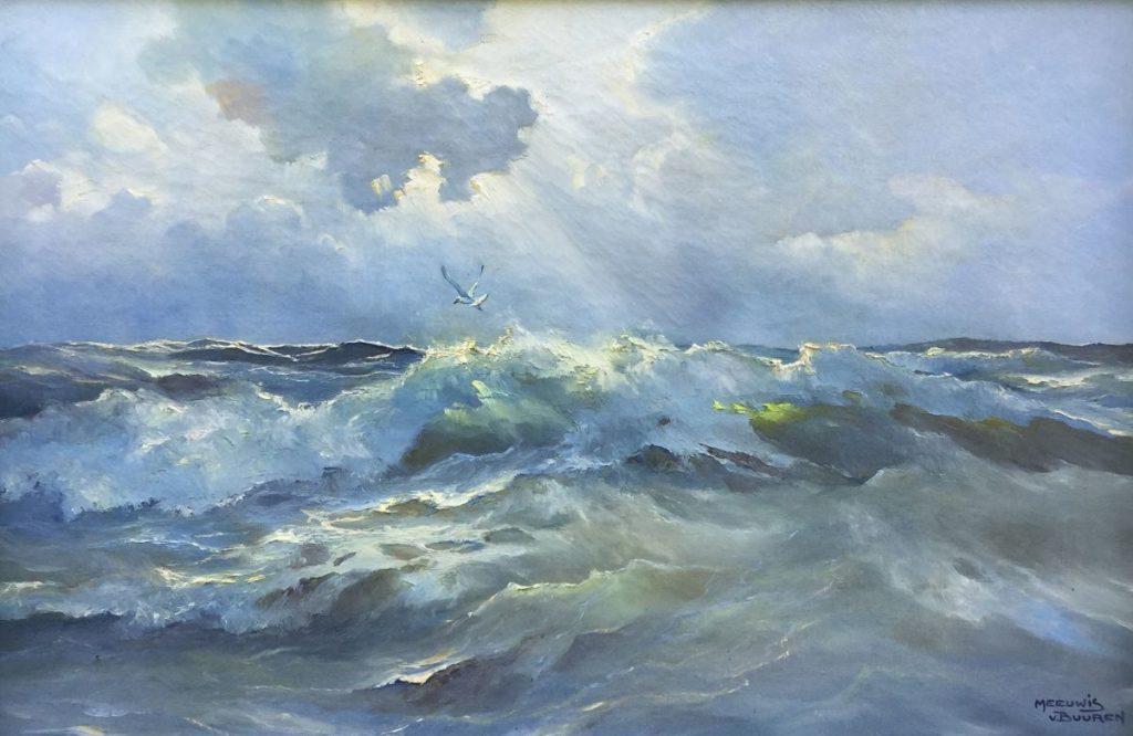 Kunst te koop bij Galerie Wijdemeren van kunstschilder Meeuwis van Buuren Zeegezicht met meeuw olie op doek, 40 x 60cm rechtsonder gesigneerd