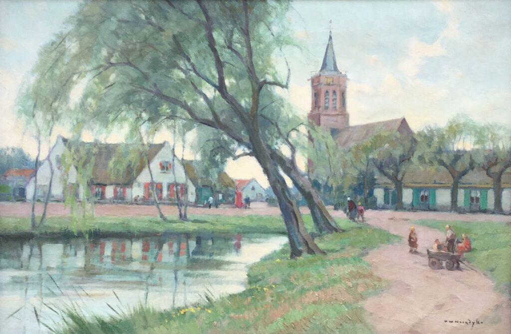 Kunstenaar Willem Noordijk C3841 Willem Noordijk Dorpsgezicht Laren olie op doek, 40 x 60 cm r.o. gesigneerd verkocht