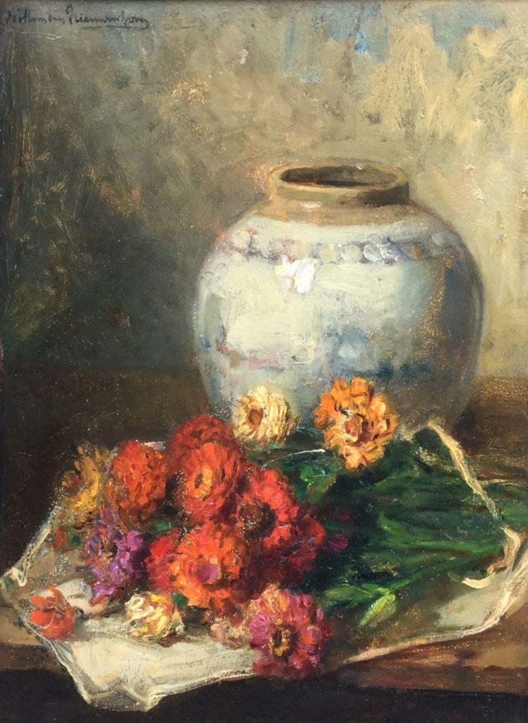 schilderijen te koop van kunstschilder, Willem van Nieuwenhoven Stilleven met bloemen en gemberpot olie op paneel, paneelmaat 40 x 30 cm linksboven gesigneerd
