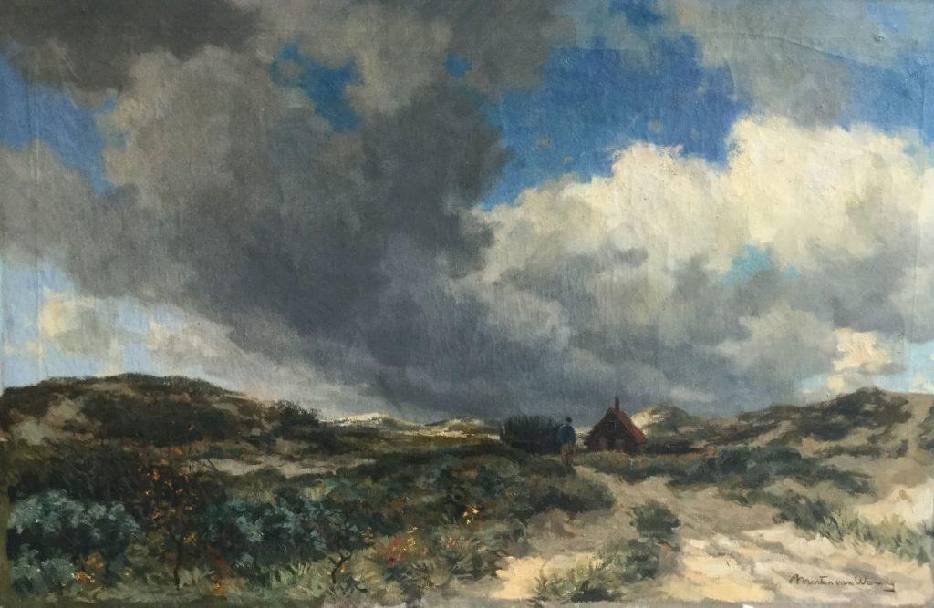 Schilderijen te koop van kunstschilder Martin van Waning Duingezicht met wandelaar en huisje olie op doek, 66 x 100 cm rechtsonder gesigneerd, Expositie Galerie Wijdemeren Breukeleveen