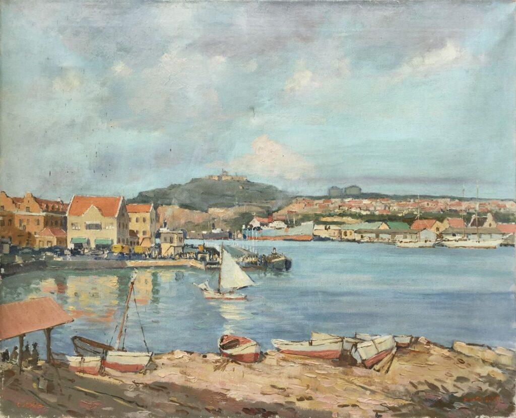 Kunstenaar Machiel Hagedoorn C3843-3, Hagedoorn Curacao olie op doek, 45 x 55 cm r.o. gesigneerd verkocht