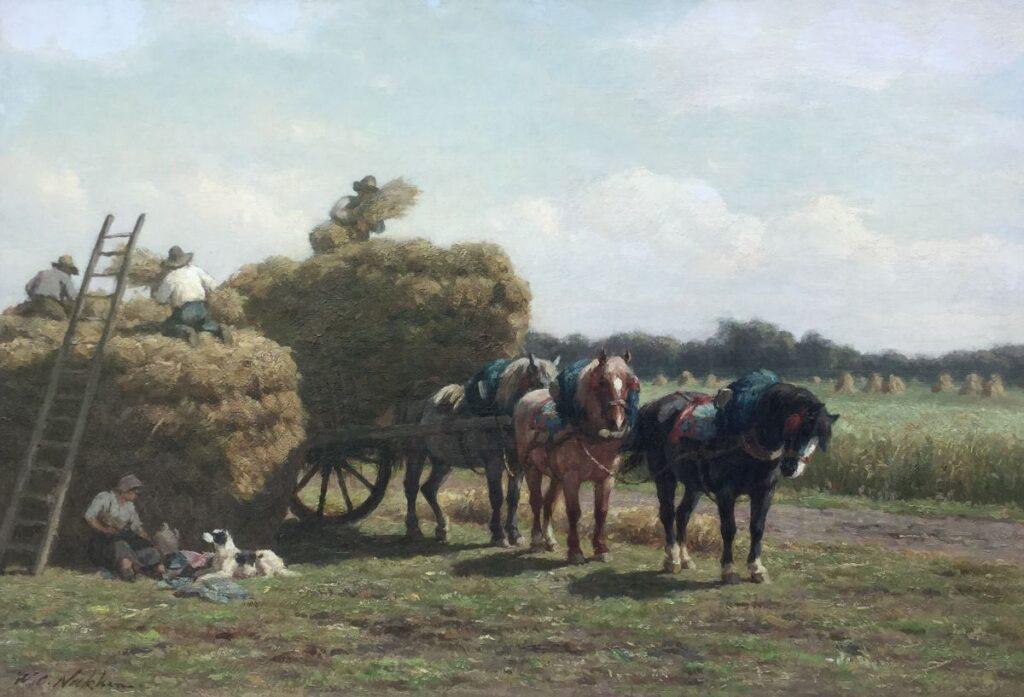 C3844, W.C. Nakken Hooikar met paarden in het veld olie op doek, 52 x 77 cm, l.o. gesigneerd, schilderijen te koop, kunst te koop, exposities, galerie wijdemeren breukeleveen
