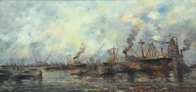 Kunstenaar Willem (Wim) Bos C3845 Wim Bos Rotterdamse Haven Olie op doek, 60 x 100 cm rechtsonder gesigneerd verkocht