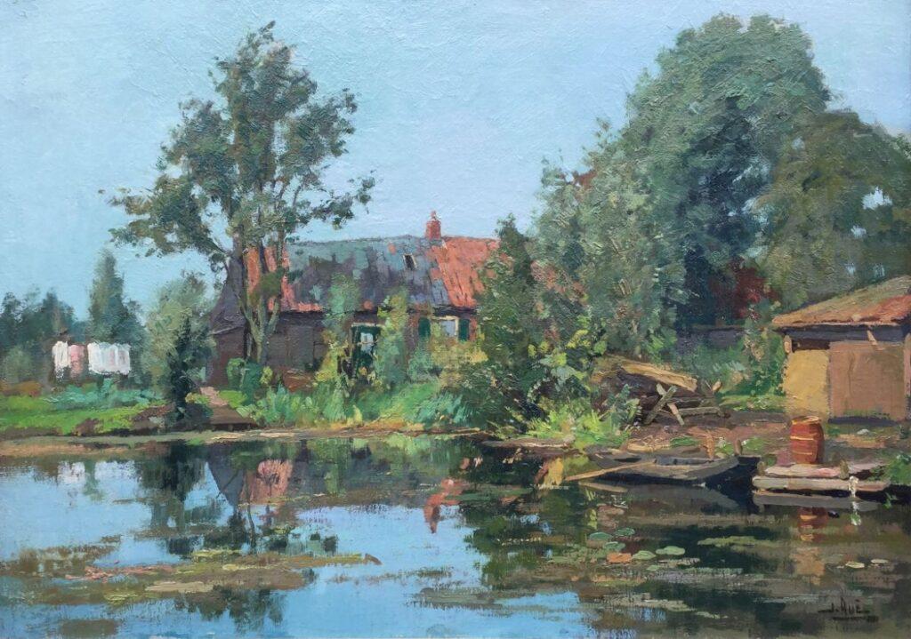Kunstenaar Jack Aué C3849 Jack Aué Boerderij aan het water, mogelijk Kortenhoef Olie op doek, doekmaat 50.5 x 70.5 cm rechtsonder gesigneerd verkocht