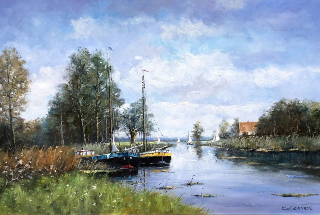 Schilderijen te koop, kunstschilderG. Ernens Boten in een boerenvaart olie op doek, doekmaat 60 x 90 cm rechtsonder gesigneerd, expositie Galerie Wijdemeren Breukeleveen