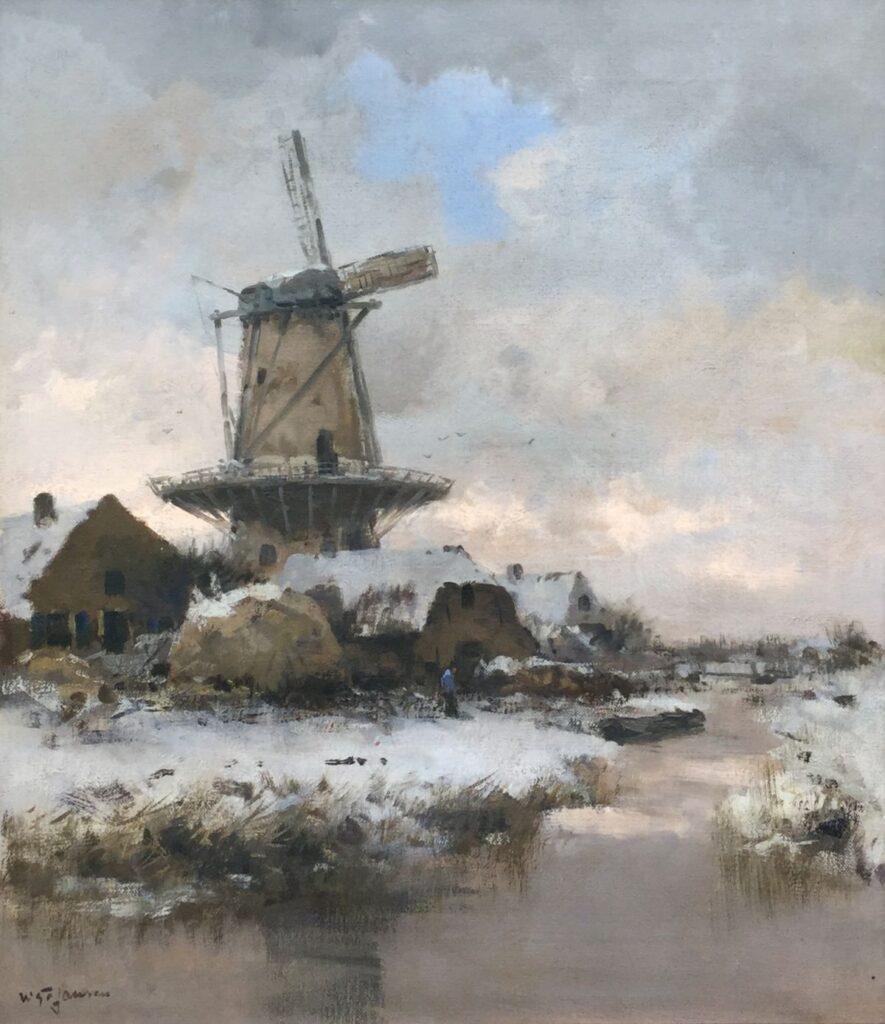 Schilderijen te koop van kunstschilderWillem George Frederik Jansen Wintergezicht met molen olie op doek, 76 x 65.5 cm linksonder gesigneerd, Galerie Wijdemeren