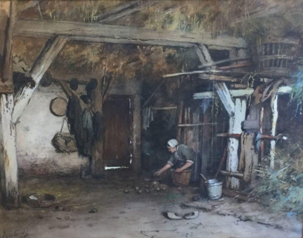 Kunstenaar Johannes Weiland C3863 Johannes Weiland Stalinterieur met boerin die de kuikens voert aquarel, beeldmaat 43 x 54 cm linksonder gesigneerd