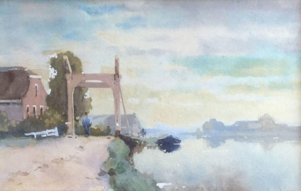 Schilderijen te koop van kunstschilder Cornelis Vreedenburgh Bruggetje aquarel, Expositie Galerie Wijdemeren Breukeleveen