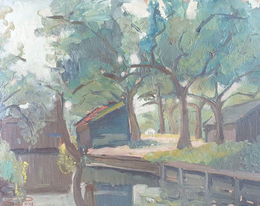 Kunstenaar Claas Prins C3879-11 Claas Prins botenhuis en schuur langs dorpsvaart olie op paneel, 30 x 40 cm linksonder gesigneerd