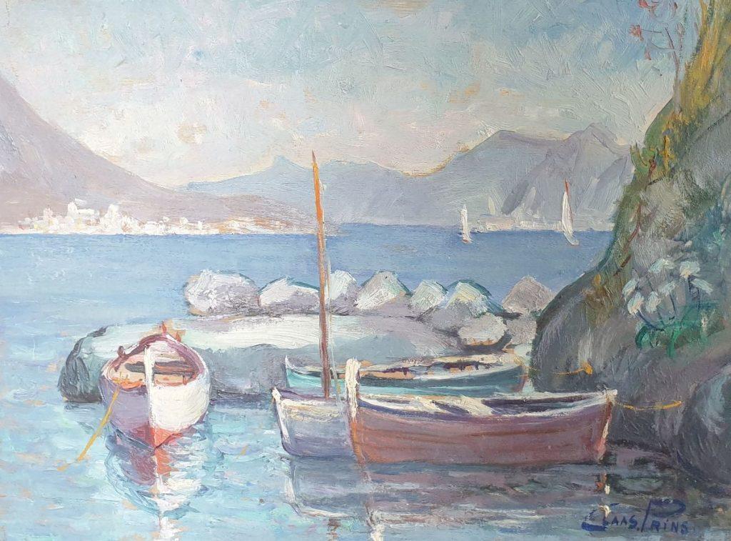 Schilderijen te koop van kunstschilder Claas Prins Mediterraans meergezicht met bootjes olie op paneel, paneelmaat 30.5 x 40.5 cm rechtsonder gesigneerd, Expositie Galerie Wijdemeren Breukeleveen