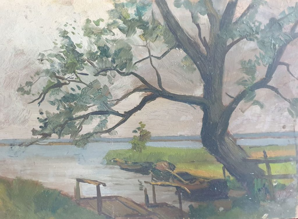 Kunstenaar Claas Prins C3879-15 Claas Prins Onder de boom olie op board, 35.5 x 49.5 cm, ongesigneerd