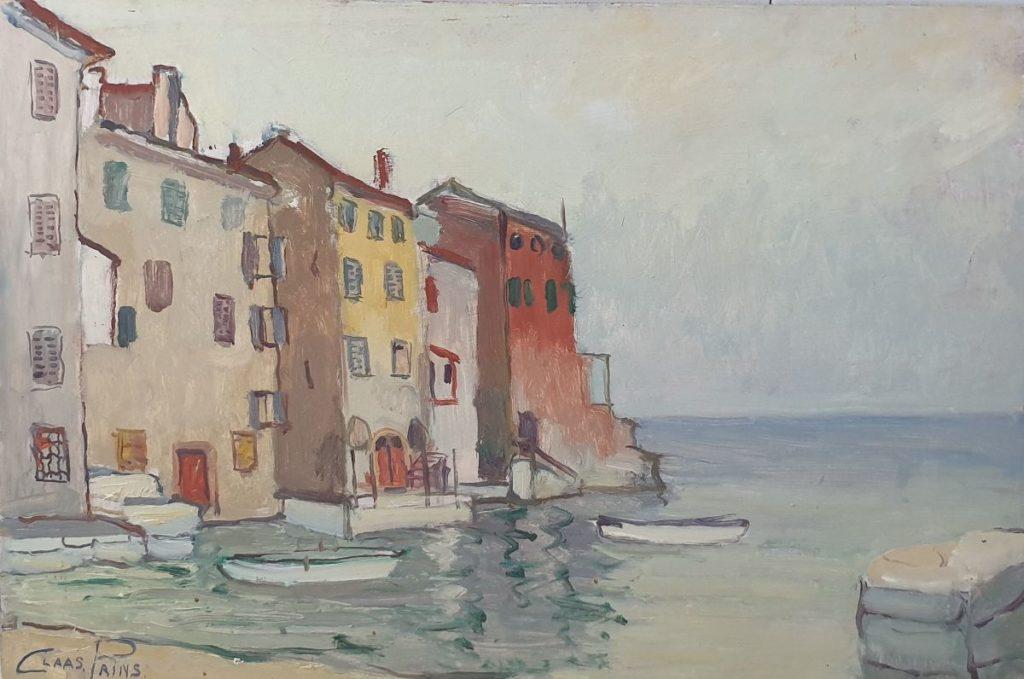 Schilderijen te koop van Claas Prins, Mediterraans strandgezicht olie op paneel, 40 x 60 cm linksonder gesigneerd, Galerie Wijdemeren