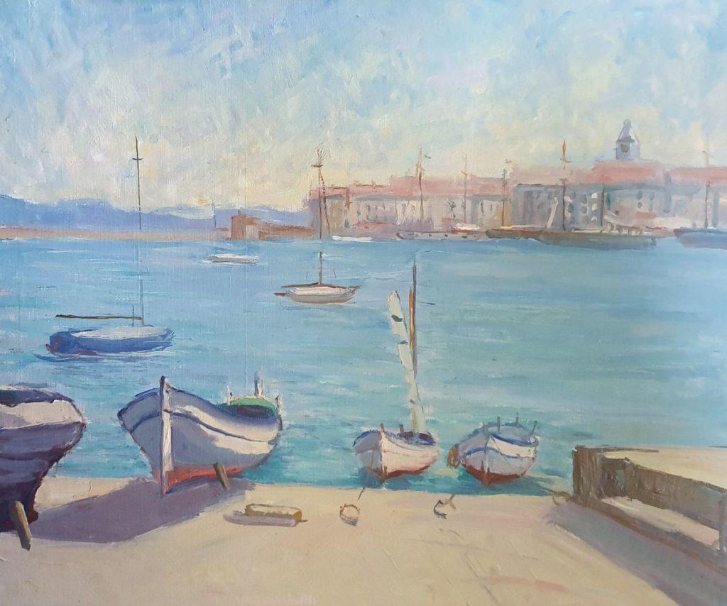 schilderijen te koop van kunstschilder, Claas Prins Mediterraans havengezicht olie op doek, doekmaat 50 x 60 cm, expositie, galerie wijdemeren breukeleveen