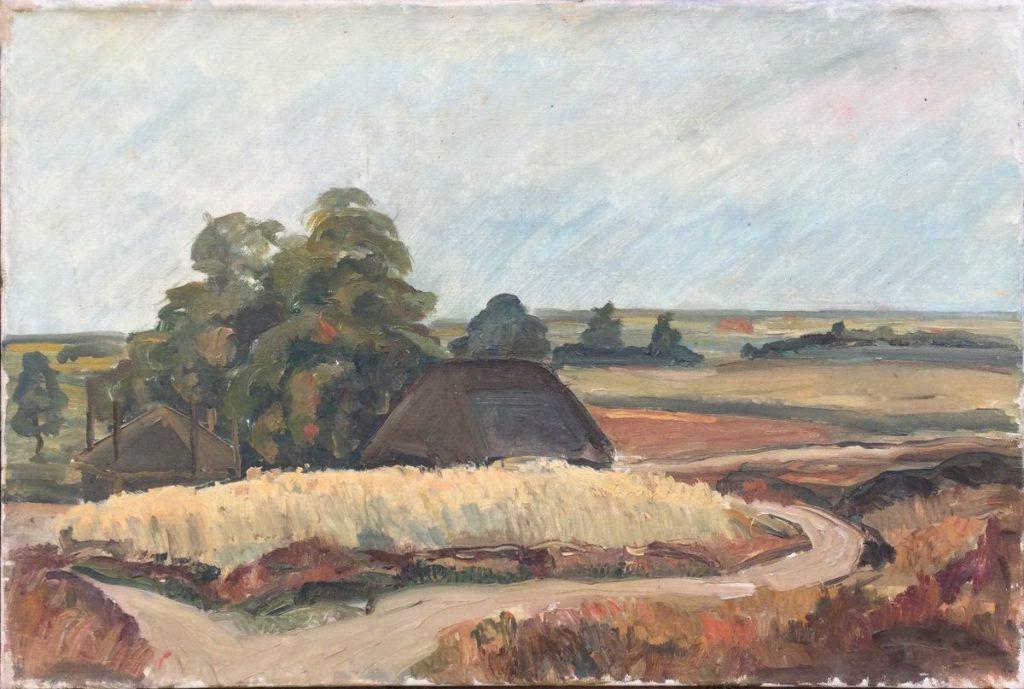 Kunst te koop bij Galerie Wijdemeren van kunstschilder Claas Prins Korenlandschap olie op doek, 40 x 60 cm