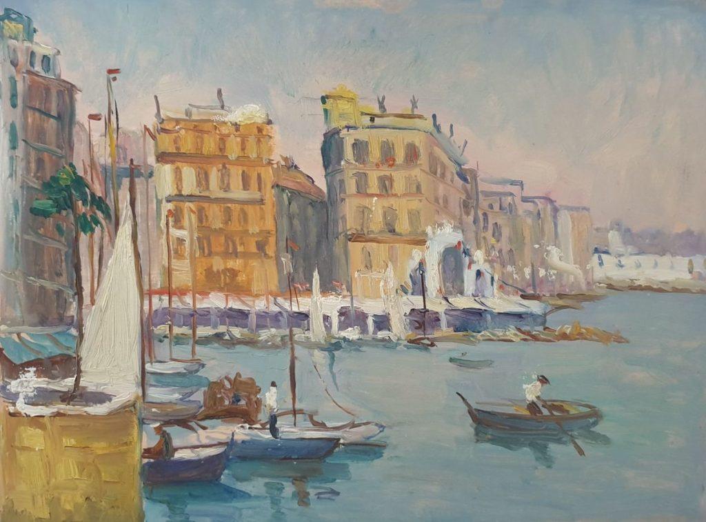 Kunst te koop bij Galerie Wijdemeren, Claas Prins Mediterraans havengezicht met boulevard olie op paneel, 30 x 40 cm ongesigneerd