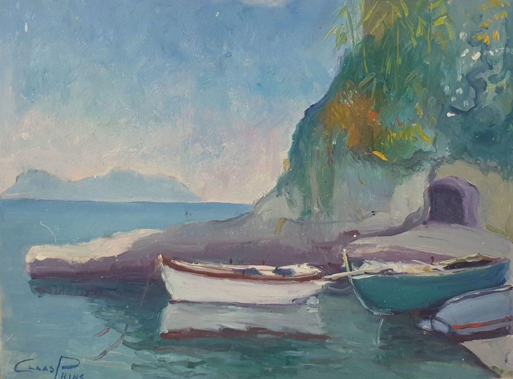 Schilderijen te koop van Claas Prins bij Galerie Wijdemeren, Vissersboten langs rotspartij olie op paneel, 30 x 40 cm linksonder gesigneerd