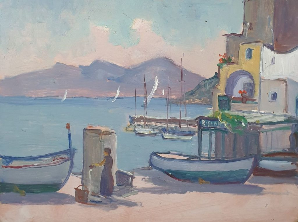 Schilderijen te koop bij Galerie Wijdemeren, Claas Prins Mediterraans havengezicht olie op paneel, 30 x 40 cm ongesigneerd