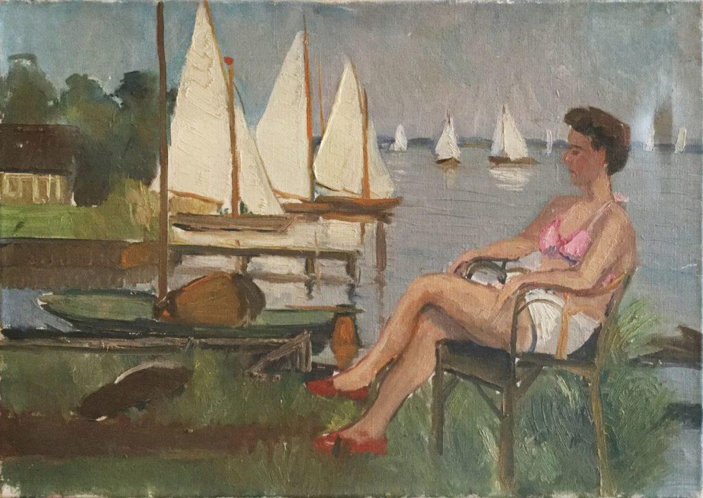 Kunst te koop bij Galerie Wijdemeren door kunstschilder Claas Prins Dame zittend aan de kade olie op doek, 50,5 x 70