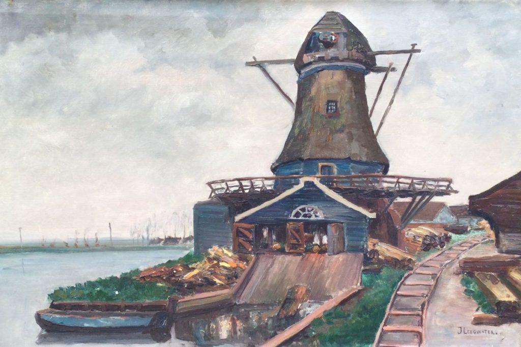 schilderijen te koop van kunstschilder, J. Leegwater Polderlandschap met molen langs vaart olie op doek, doekmaat 50 x 75 cm rechtsonder gesigneerd, expositie, galerie wijdemeren breukeleveen