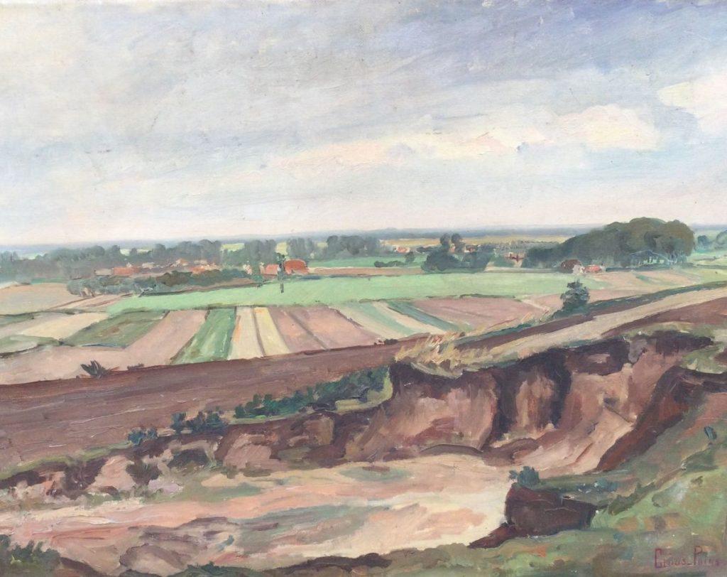 Kunst te koop bij Galerie Wijdemeren van kunstschilder Claas Prins Uitzicht over polderlandschap olie op doek, 50 x 65 cm rechtsonder gesigneerd
