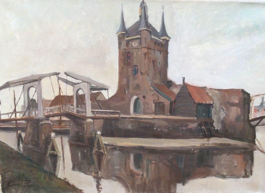 Kunst te koop bij Galerie Wijdemeren van kunstschilder Claas Prins Stadsgezicht olie op doek, 50 x 71 cm linksonder gesigneerd